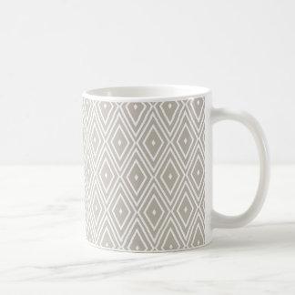 Lehm und weißes Diamant-Muster Kaffeetasse