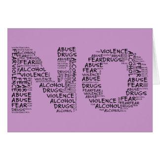 Lehnen Sie Gewalt, Missbrauch, Drogen, Alkohol u. Karte