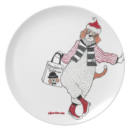 Lehnende Feiertags-Beagle-Platte Teller