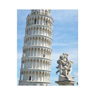 Lehnender Turm und La-Fontana dei Putti Statue, Leinwanddruck