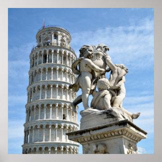 Lehnender Turm und La-Fontana dei Putti Statue, Poster
