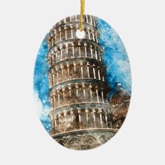 Lehnender Turm von Pisa in Italien Keramik Ornament