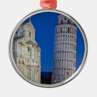 Lehnender Turm von Pisa nachts Silbernes Ornament