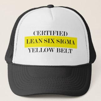 Lehnt sechs Sigma-gelben Gurt-Hut Truckerkappe