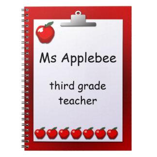 Lehrer-Apfel-kundenspezifisches Anmerkungs-Buch Spiral Notizblock