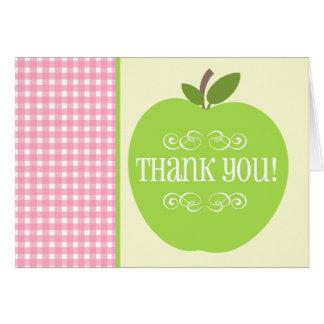 Lehrer danken Ihnen grüner rosa Gingham Apples Grußkarte