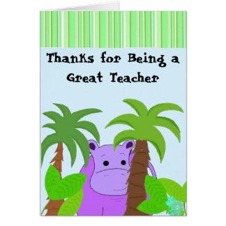 Lehrer danken Ihnen - lila Flusspferd Karte