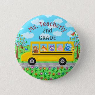 Lehrer danken Ihnen niedliche Bus-Tiere des Name-| Runder Button 5,1 Cm