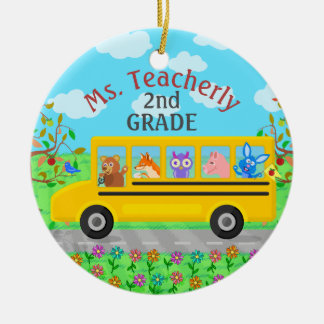 Lehrer danken Ihnen niedliche Bus-Tiere des Name-| Rundes Keramik Ornament
