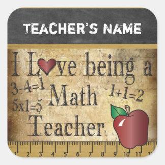 Lehrer der Mathe-Lehrer-Vintager einzigartiger Quadratischer Aufkleber