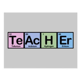 Lehrer gemacht von den Elementen Postkarte