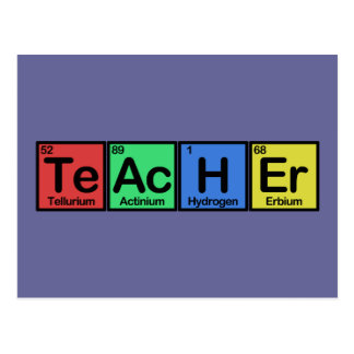 Lehrer gemacht von den Elementfarben Postkarten