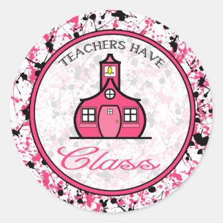 Lehrer haben Klassen-Aufkleber-- rosa und schwarze