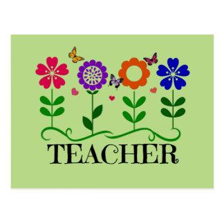 Lehrer, Herzen und Blumen und hübsche Postkarte