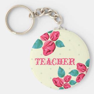 Lehrer Keychain - Vintage Rose Standard Runder Schlüsselanhänger