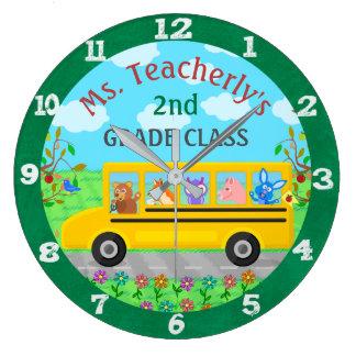 Lehrer-Klassenzimmer-süße Tiere auf Große Wanduhr