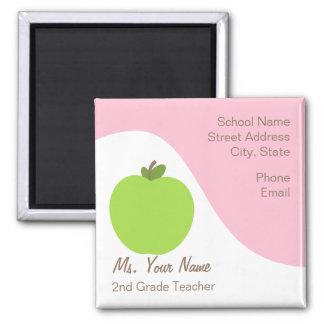 Lehrer-Kontakt-Magnet - grünes Apple u. Rosa Kühlschrankmagnet