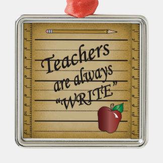Lehrer sind schreiben immer silbernes ornament