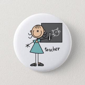 Lehrer-Strichmännchen-Knopf Runder Button 5,7 Cm