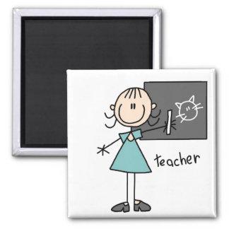 Lehrer-Strichmännchen-Magnet Quadratischer Magnet
