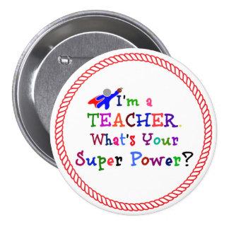 Lehrer-Superheld Runder Button 7,6 Cm