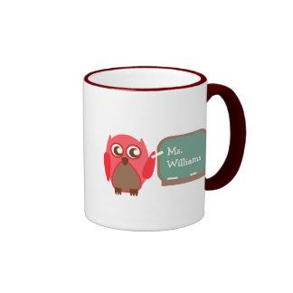 Lehrer-Tasse - rote Eule an der Tafel Ringer Tasse