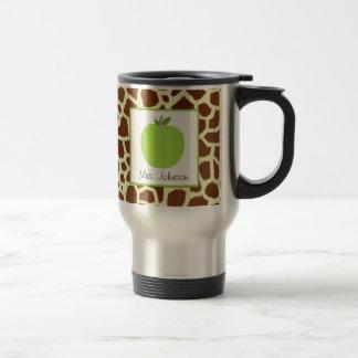 Lehrer-Tassen-Grün-Apple-Giraffen-Druck