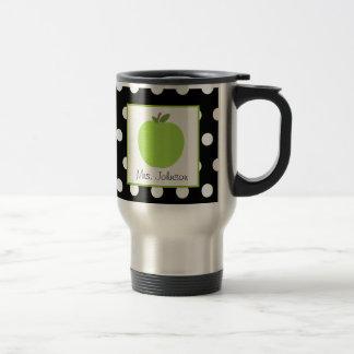 Lehrer-Tassen-Grün-Apple-Schwarzes mit weißem Polk