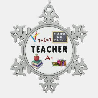 Lehrer tun es mit Klasse Schneeflocken Zinn-Ornament