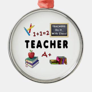 Lehrer tun es mit Klasse Silbernes Ornament