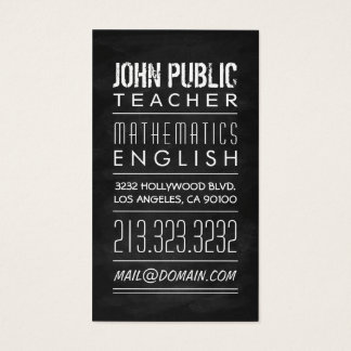 Lehrer-Tutor-Tafel Visitenkarte