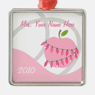 Lehrer-Verzierung - rosa Apple u. Weinachtsornamente