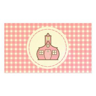 Lehrer-Visitenkarte - rosa Gingham Visitenkarten