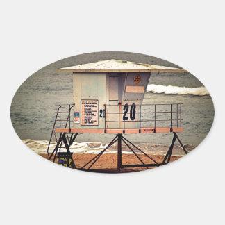Leibwächter-Haus Huntington Beach Ovaler Aufkleber