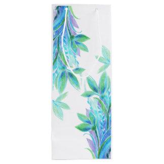 Leichter eleganter blauer Türkis-Blume Watercolor Geschenktüte Für Weinflaschen