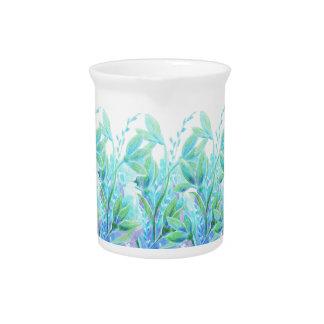 Leichter eleganter blauer Türkis-Blume Watercolor Krug