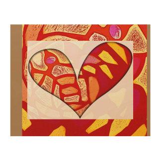 Leidenschaftliches Herz ist Gold - hölzernes Holzleinwand
