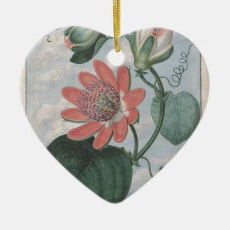 Leidenschafts-Blume Keramik Herz-Ornament