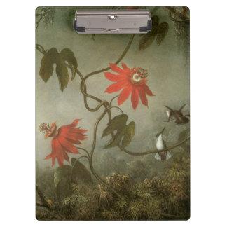 Leidenschafts-Blumen und Kolibris durch Martin J Klemmbrett