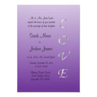 Leidenschafts-lila und silberne 12,7 x 17,8 cm einladungskarte