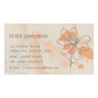 Leinen skizzierte Blume auf Watercolorfarbe splats Visitenkarten