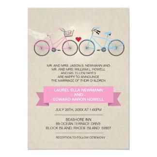 Leinenart-Rosa-Fahrrad-Hochzeit Personalisierte Ankündigungen