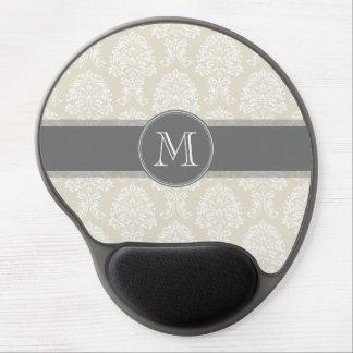 Leinenbeige-und Holzkohlen-Damast-Muster Gel Mouse Matten