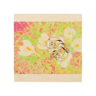 Leinwand: Abstraktes, buntes Blumenbild Holzleinwand