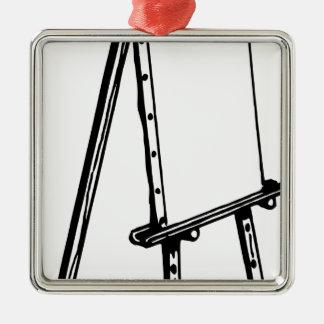 Leinwand auf Gestell Quadratisches Silberfarbenes Ornament