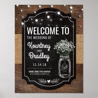 Leinwand-Baby-Atem-hölzerne Hochzeit | Hashtag Poster