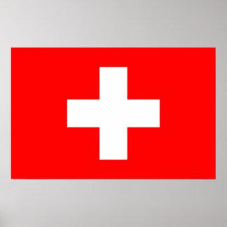 Leinwand-Druck mit Flagge von der Schweiz Poster