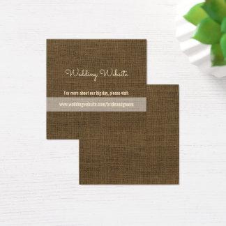 Leinwand-Hochzeits-Website kardiert | rustikale Quadratische Visitenkarte