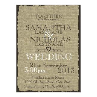 Leinwand-Land-rustikale Hochzeit 14 X 19,5 Cm Einladungskarte