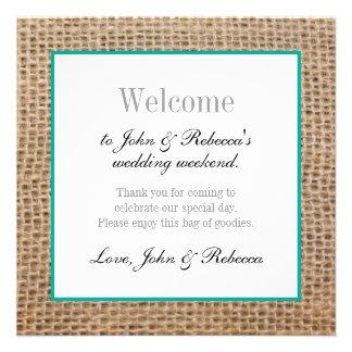 Leinwand-rustikale Hochzeits-Willkommens-Karte Quadratische 13,3 Cm Einladungskarte